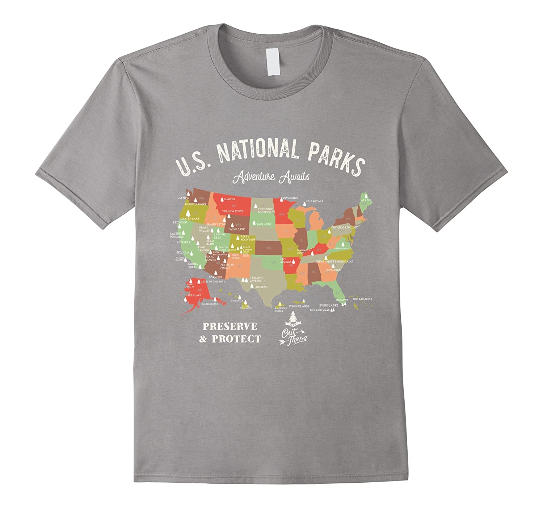National Park Map Vintage T-Shirt Hiking Camping T Shirt-T-Shirt