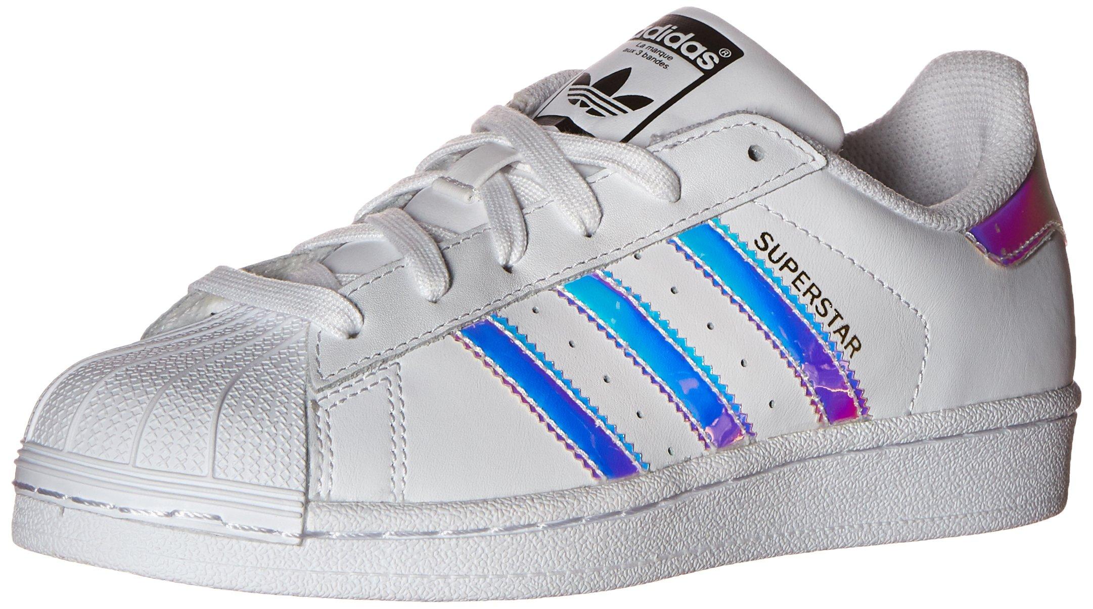 adidas Originals Kid's Superstar J Shoe, White/White/Metallic Silver, 4 M US Big Kid by adidas Originals (Image #1)