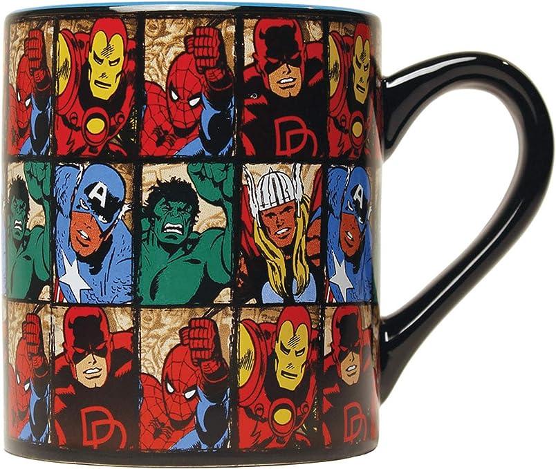 Amazon Com Comics Grid 14oz Ceramic Mug Marvel Standard Kitchen Dining