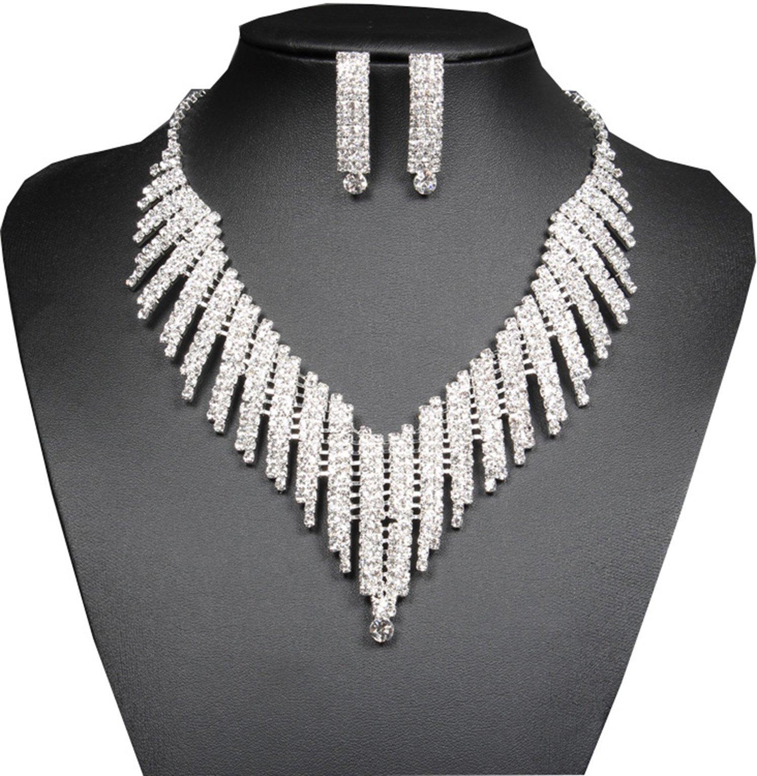 Santfe Crystal Rhinestone Collar Chocker Necklaces Earring Set for Wedding Party (style16)