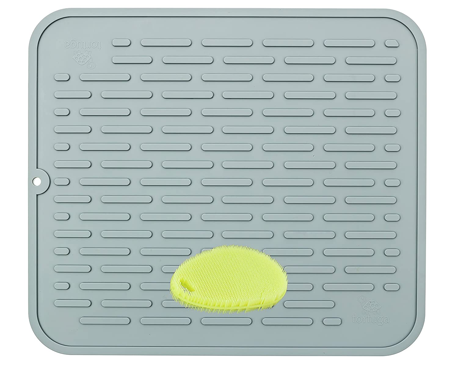 XL Premium Silicone Dish Drying Mat & Counter Protector with BONUS Scrubby |Hygienic, Antibacterial |Stable Wide Ridges | Easy To Wipe Clean & Dishwasher Safe |Heat Resistant 450º 17.8 x 15.8''