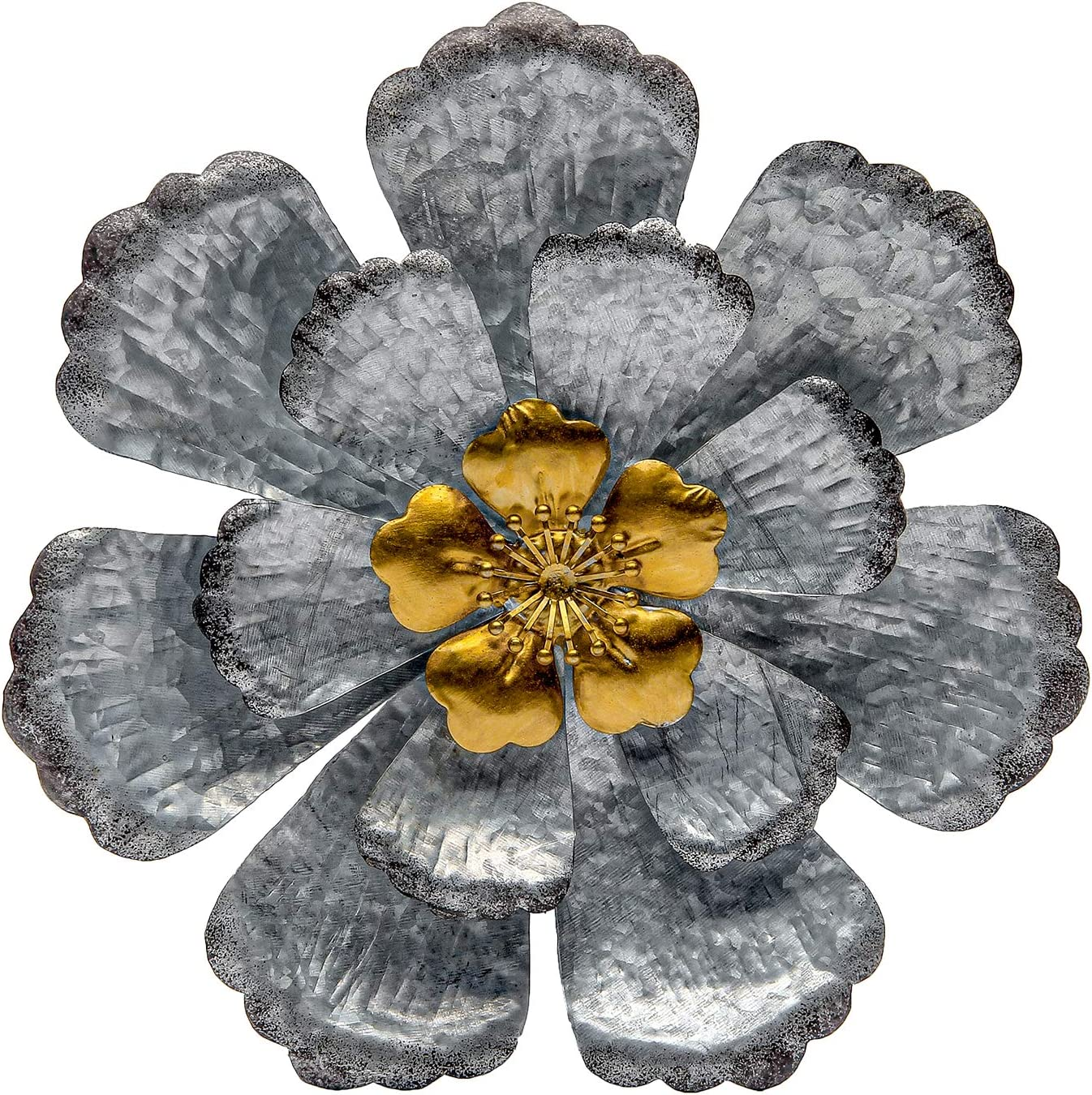 SONGXIN Silver with Gold Accents Metal Layered Floral Wall Art Decor for Bathroom Living Room Bedroom or Porch Patio 12.6 Inch