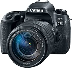 """Canon 1892C002 Digital SLR Camera EOS 77D 24.2 MP with Lens, 18 mm, 135 mm, 3"""" Touchscreen LCD, 16:9, 7.5X Optical Zoom, Optical (IS), E-TTL II, 6000 x 4000 Image, 1920 x 1080 Video, HDMI"""