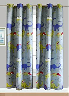 Fancy Linen Collection 2 Panel Curtain Set With Grommet DINOSAUR Grey Blue Yellow Size 80