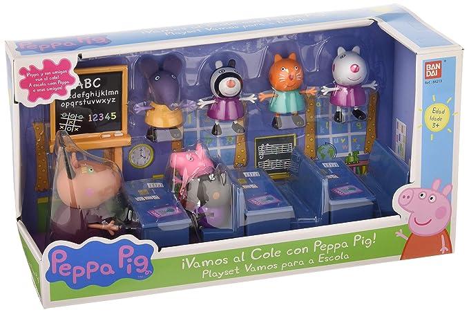 Peppa Pig- en el Cole con Amigos Incluye 7 Figuras y 3 pupitres, 30.5 x 17.8 x 12.7 (Bandai 84213)