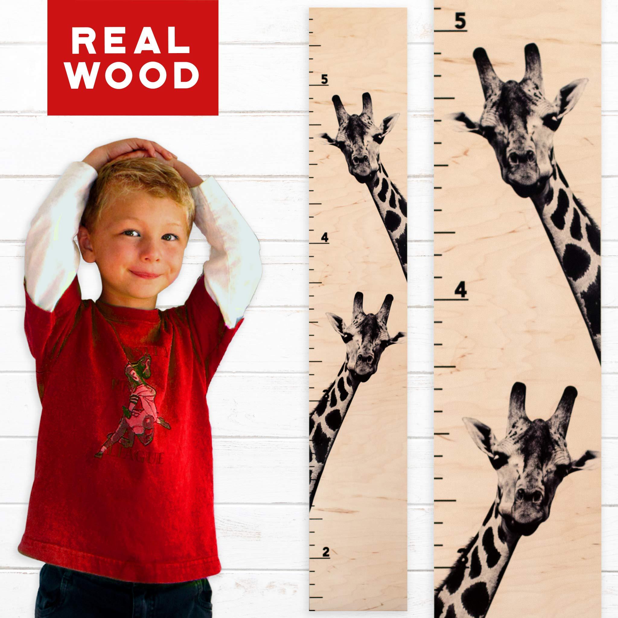 Growth Chart Art | Giraffe Growth Chart | Wooden Height Chart for Kids, Boys & Girls (Two Giraffes)