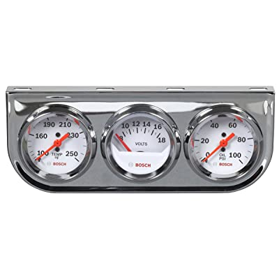 "Bosch SP0F000046 Style Line 2"" Triple Gauge Kit (White Dial Face, Chrome Bezel): Automotive"