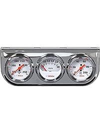"Bosch SP0F000046 Style Line 2"" Triple Gauge Kit (White Dial Face, Chrome Bezel)"