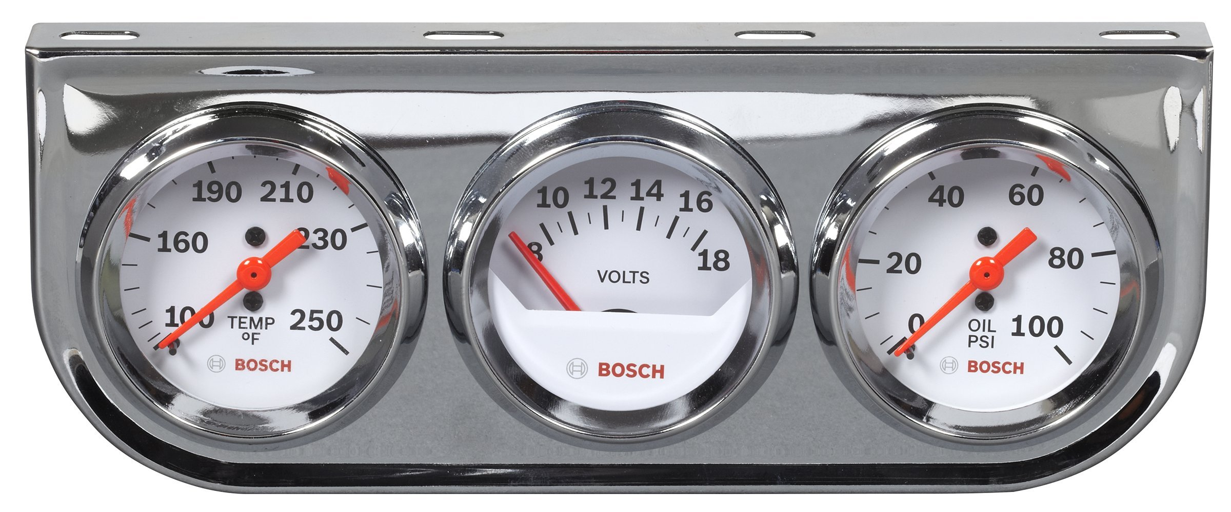 Bosch SP0F000046 Style Line 2'' Triple Gauge Kit (White Dial Face, Chrome Bezel) by Bosch Automotive