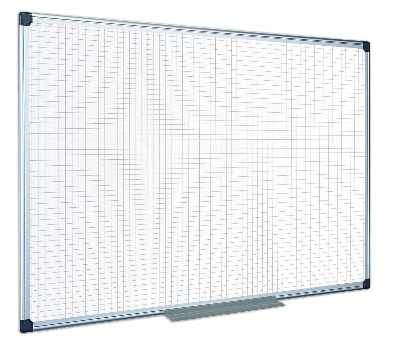 Bi-Office Maya Weißboard mit leichtem Raster, Aluminiumrahmen, 90 x 60 cm, nicht magnetisch