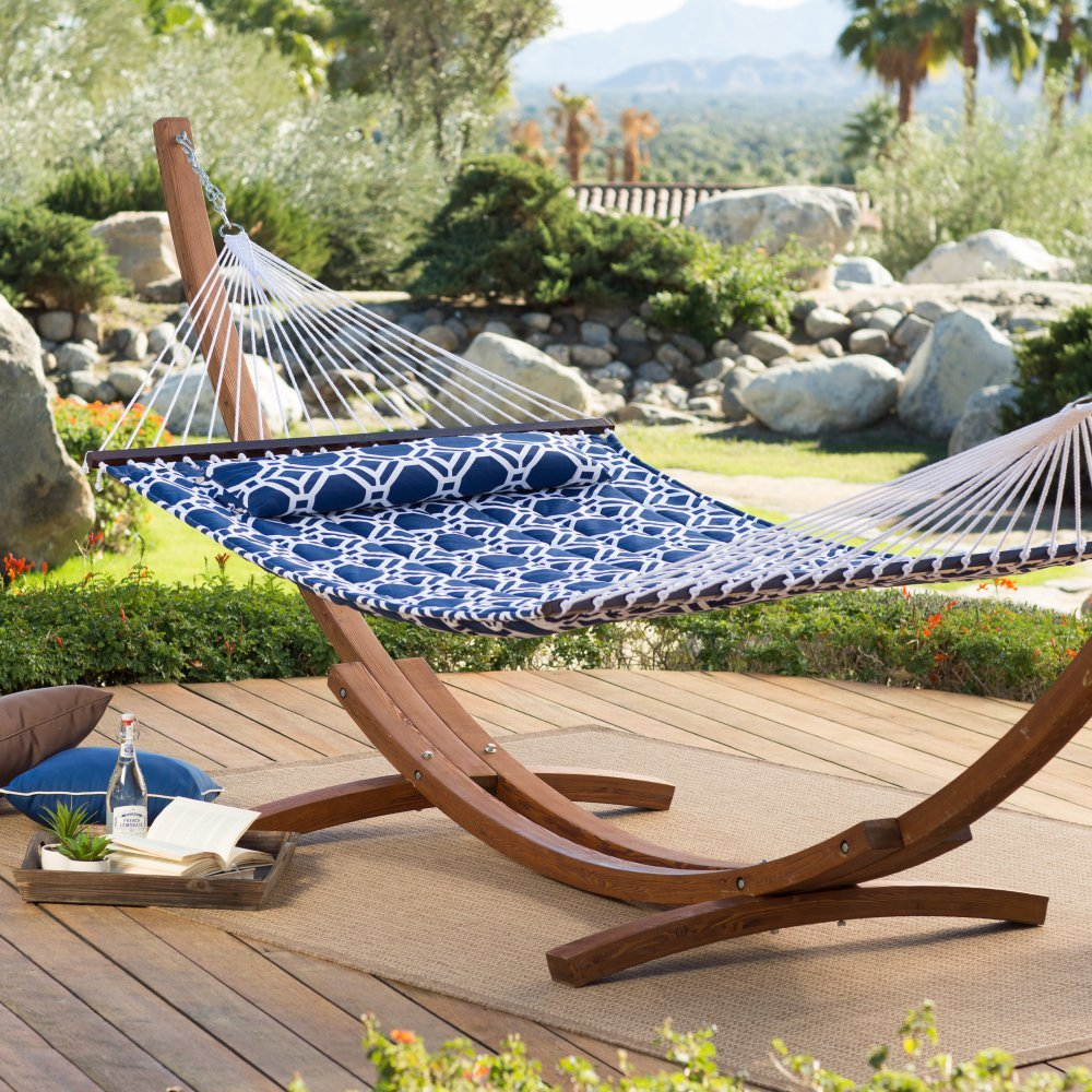 Island Bay Island Bay 13 ft. Hampton Lattice Quilted Hammock, Blue, Polyester, 2 Person