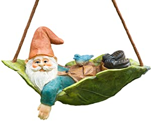 Twig & Flower Harley The Happy Miniature Leaf Hammock Gnome with His Best Blue Bird Buddy Jay