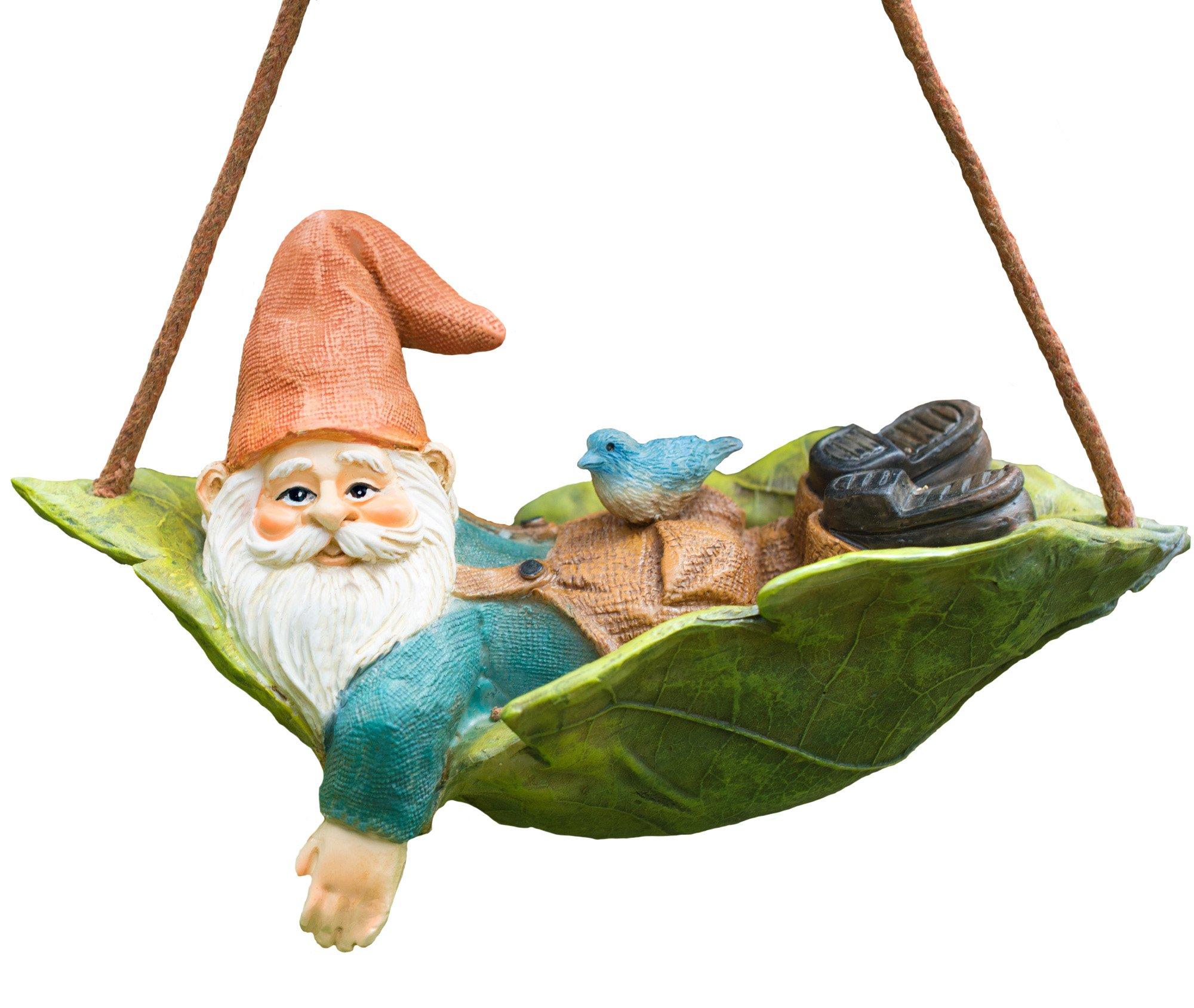 Twig & Flower Harley The Happy Miniature Leaf Hammock Gnome with His Best Blue Bird Buddy Jay