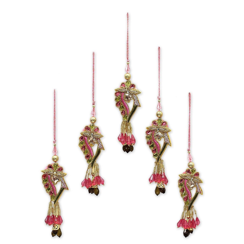 Set of 5 NOVICA Decorative Hand Beaded Cotton Blend Hanging Holiday Ornaments Multicolor Lavish Delhi/' HD0012 Set of 5 Lavish Delhi
