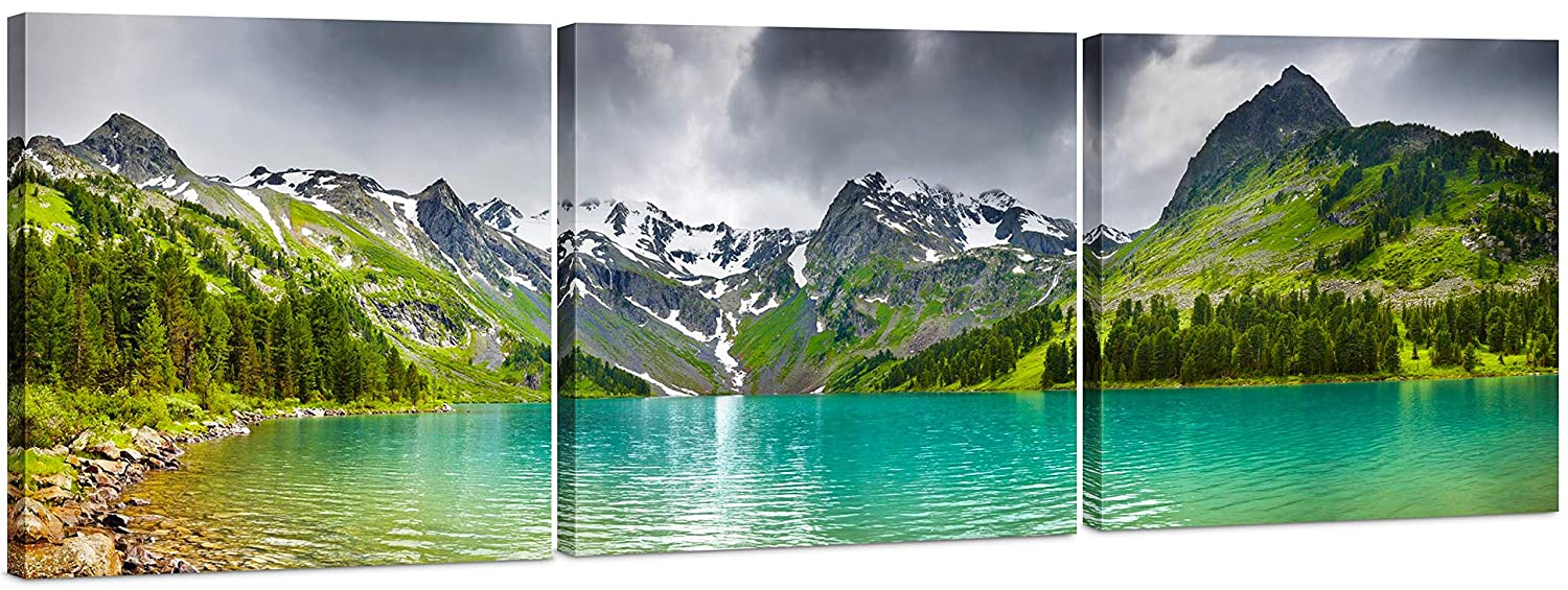 Canvas Wall Art Decor - 24x24 3 Piece Set (Total 24x72 inch) - Mountain & Lake Landscape - Large Decorative & Modern Multi Panel Split Canvas Prints for Dining & Living Room, Kitchen, Bedroom & Office