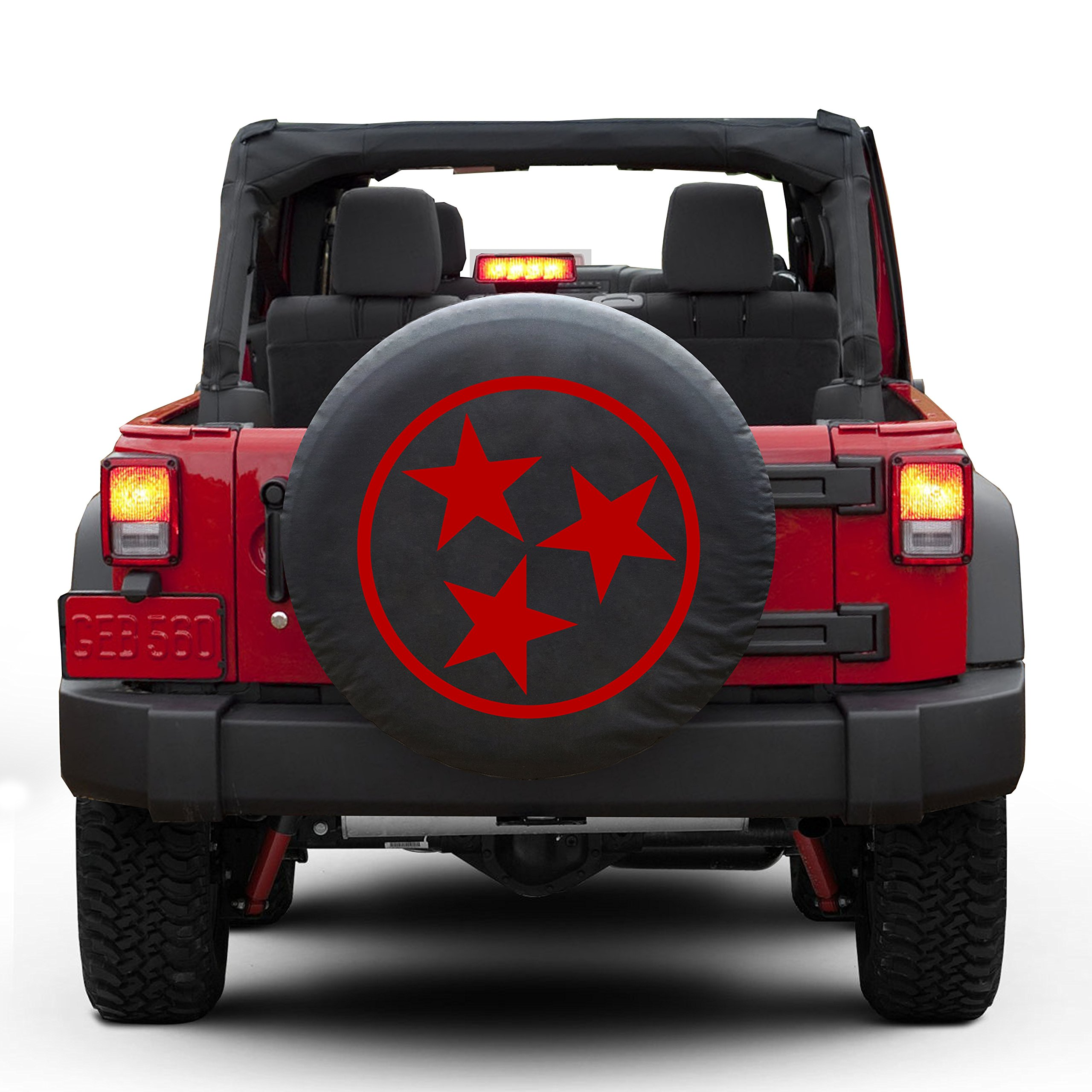 Tennessee tri star Tire Cover Fits 30''-32'' Tire (RED)