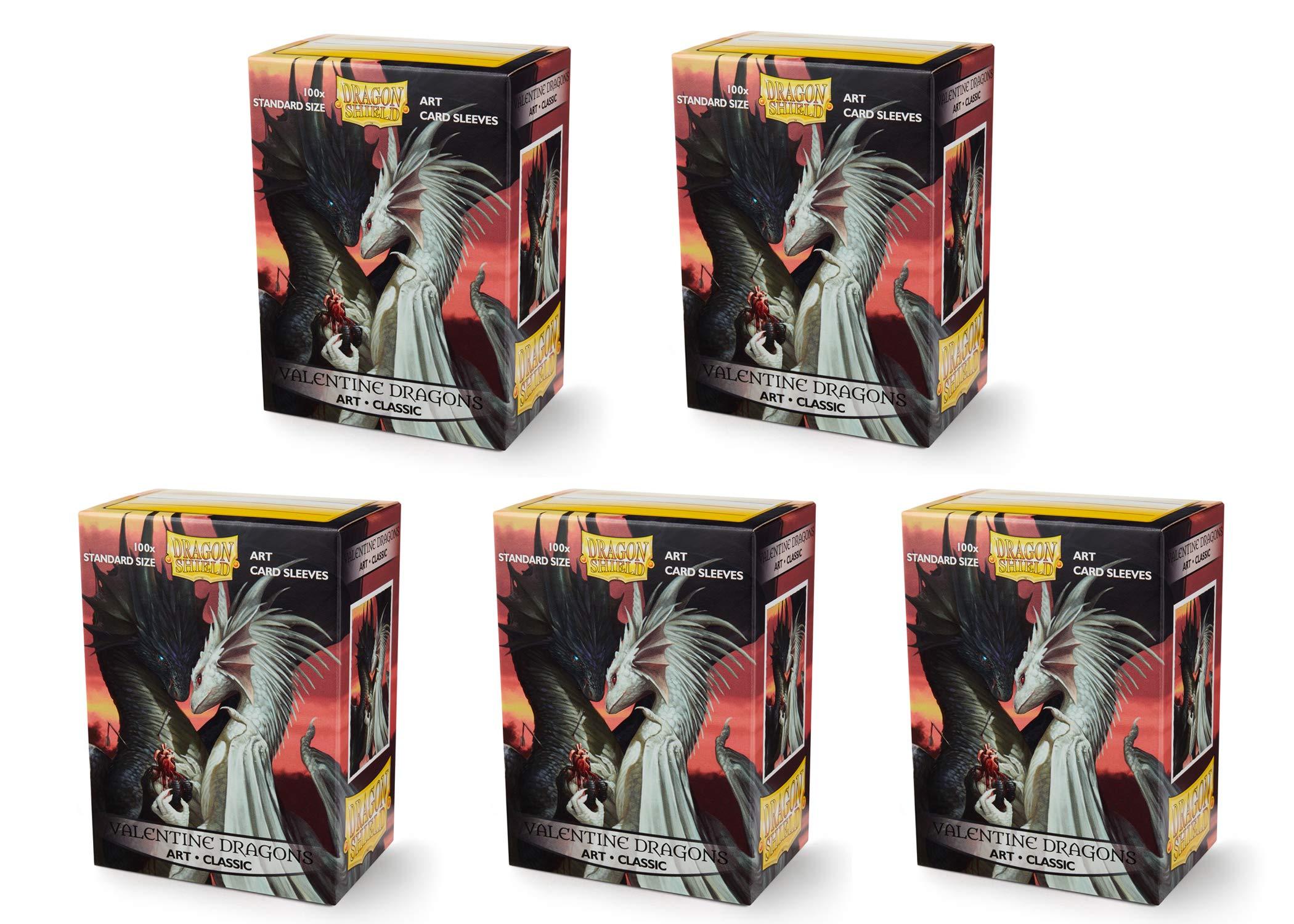 5 Packs Dragon Shield Classic Art Valentine Dragons Standard Size 100 ct Card Sleeves Value Bundle!