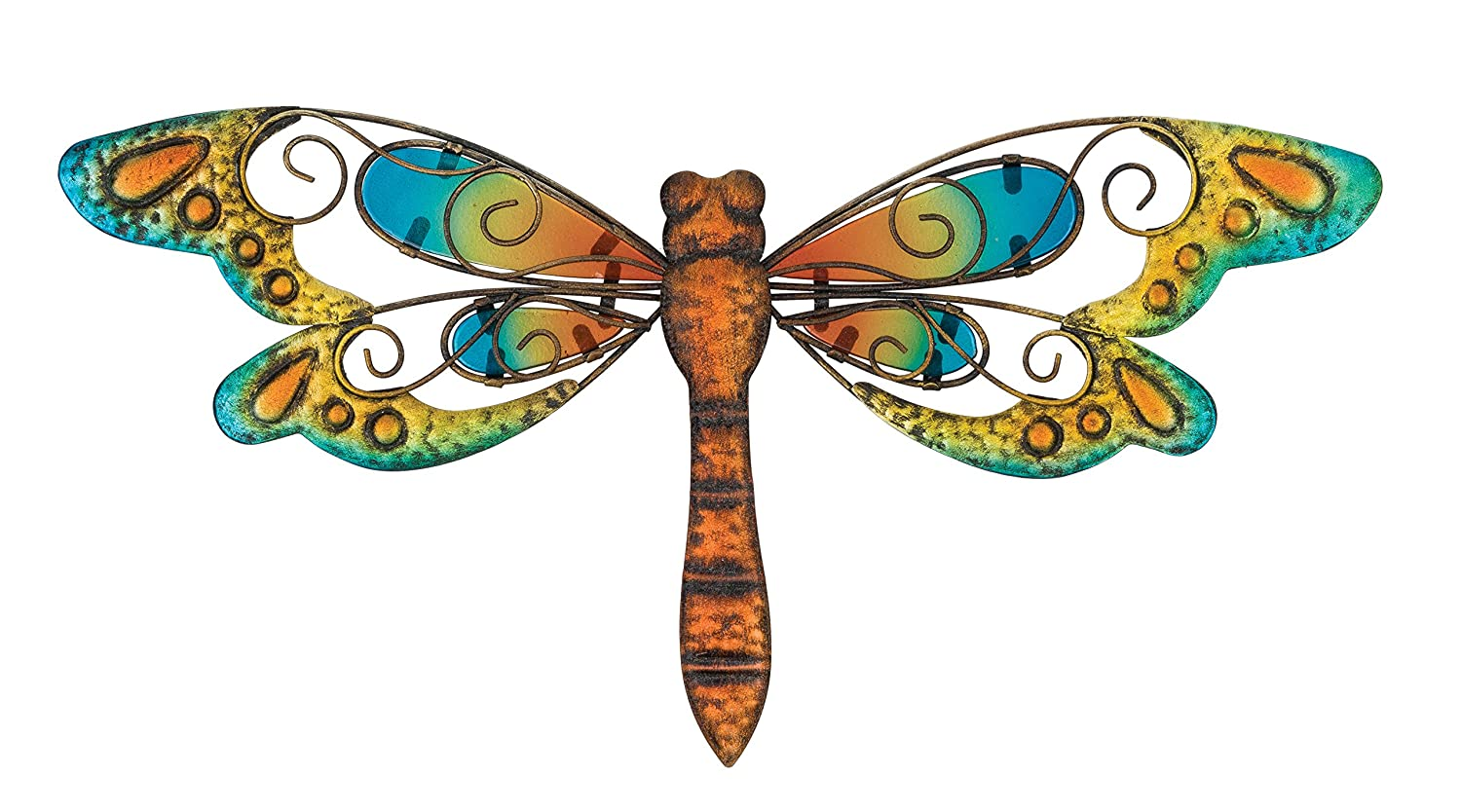 metal and glass dragonfly wall art