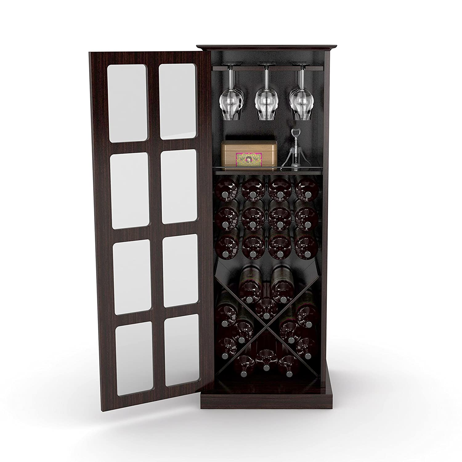 Amazon.com: Atlantic Wood Bar Wine Rack Glass Liquor Cabinet with 24 Bottle  Holder and Glass Storage: Kitchen & Dining