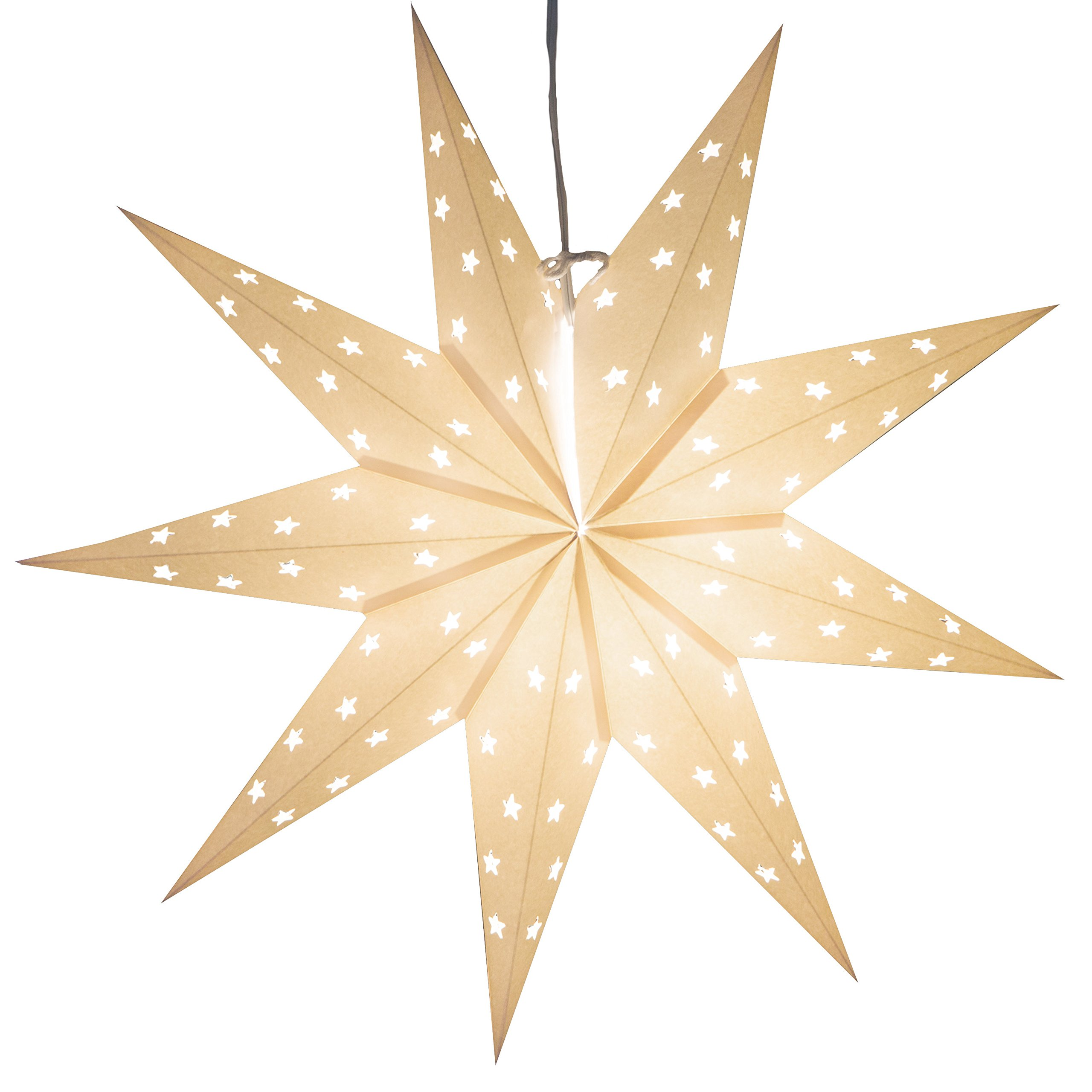 9 Pointed White Paper Star Light with 12 Foot Power Cord Included