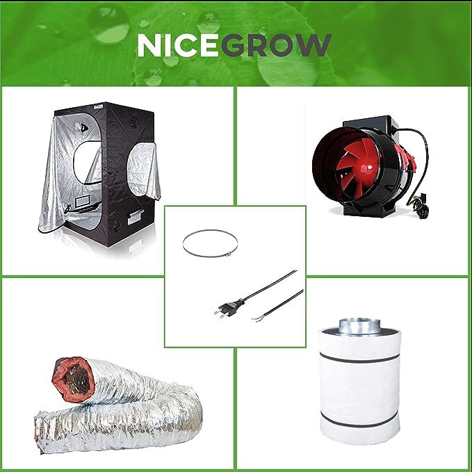 Nice Grow Growzelt Abluft-Set Dark Box 80 Black Orchid Mixed Flo 187cbm//h Aktivkohlefilter