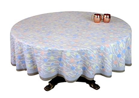 Awesome ShalinIndia Multicolor Brown Floral Print Round Tablecloth   90 Inch For  6 Seater Table