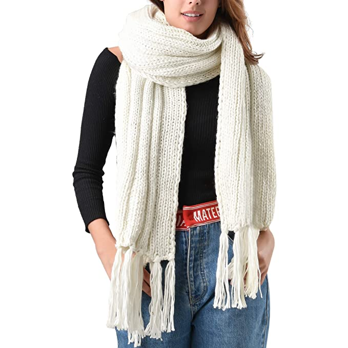 65456dd392ee1 FURTALK Mens Winter Knitted Scarf Oversized Long Crochet Super Chunky Warm  Scarfs With Tassels (White