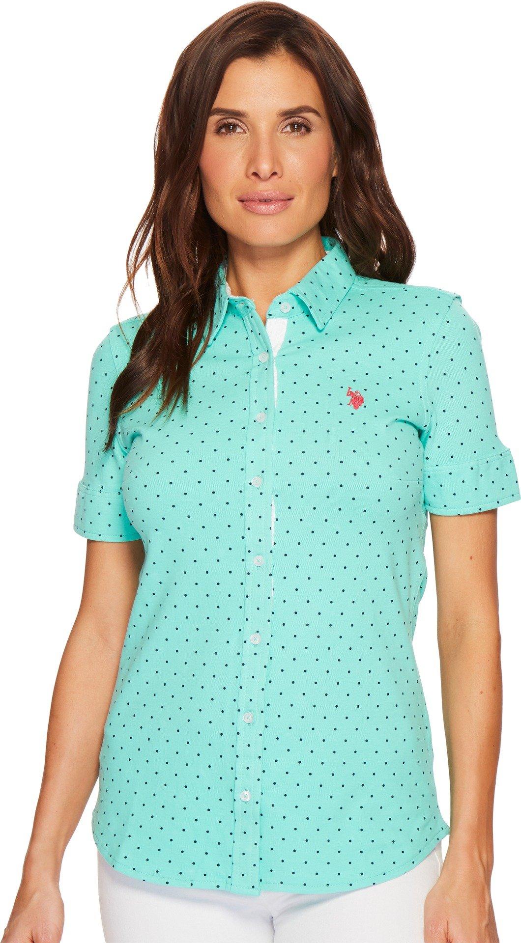 U.S. Polo Assn. Women's Short Sleeve Fashion Blouse, Cool Breeze-Pique Dots-Fhbd, L