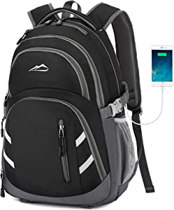 Backpack Bookbag for School College Student Business Travel with USB Charging Port Fit Laptop Up to 15.6 Inch Luggage Chest Straps Night Light Reflective (Black)