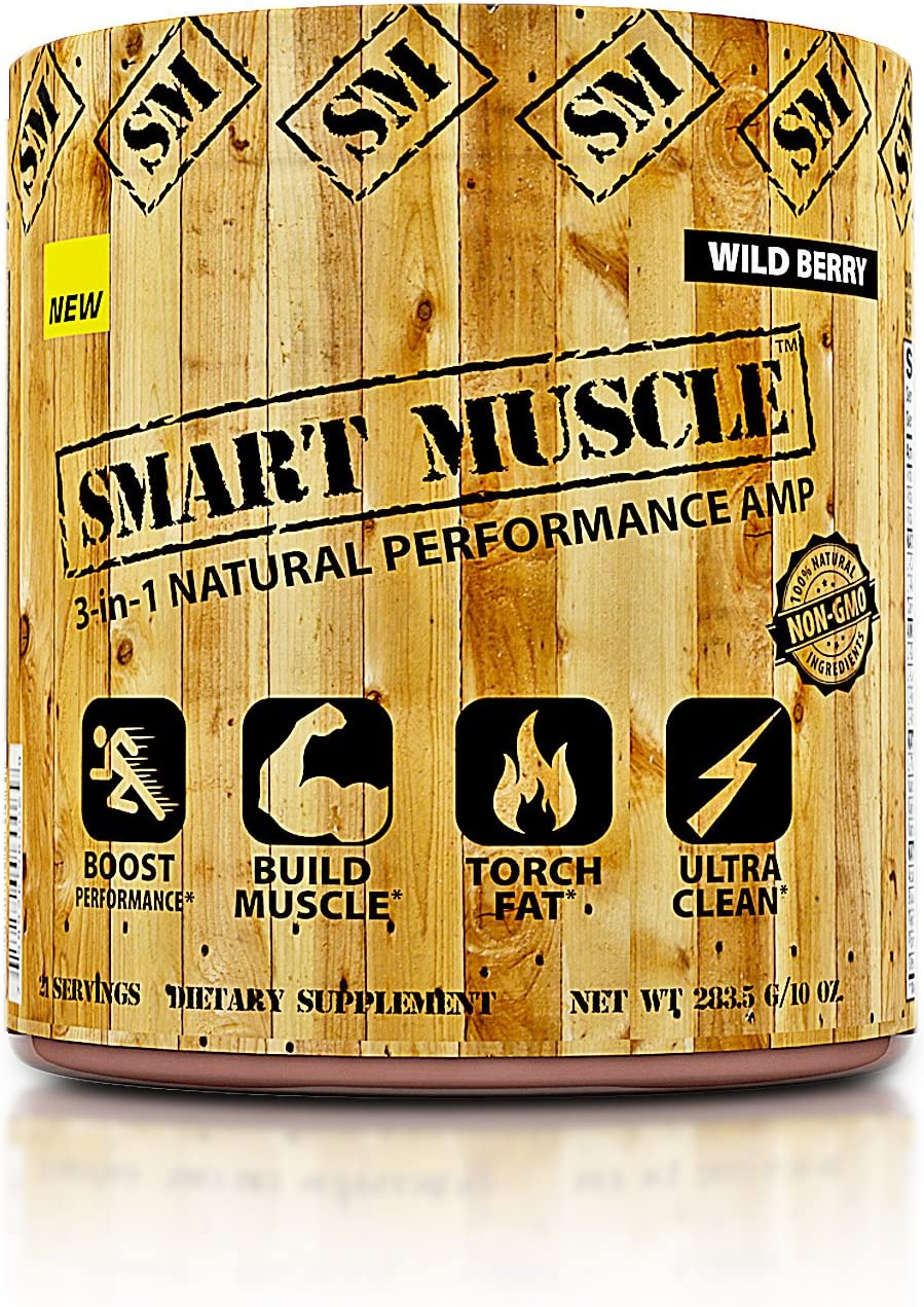 Smart Muscle 3-in-1 Natural Performance AMP – Ultra Clean Total Muscle Defining Preworkout Experience with Fat Shredding Matrix and Muscle Building BCAA Blend – 100 Non-GMO Ingredients – Wild Berry