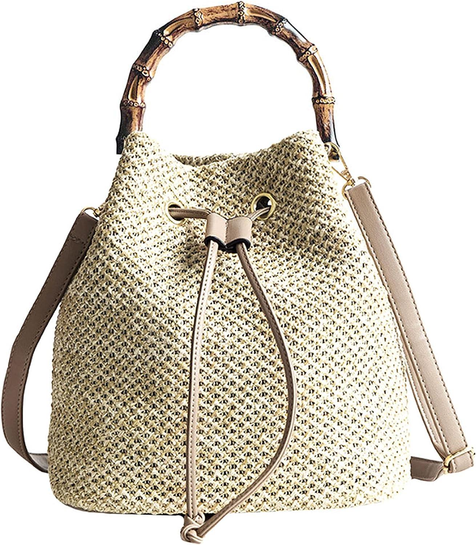 Buddy Small Drawstring Shoulder Bag Straw Weave Handbag Summer Beach Purse