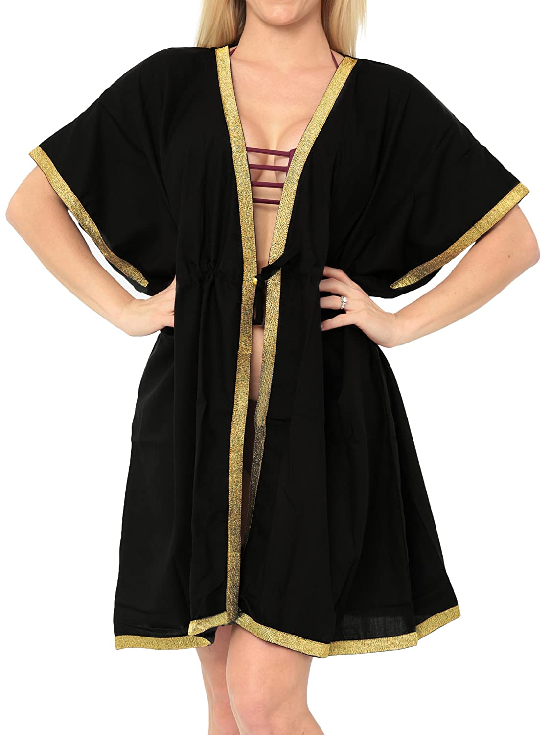 93ab783cb2c72 100% Cotton Lightweight Breathable Fabric Skin Friendly Robe Kimono Loose  Cardigan :- Can be Wore as Tied over a bikini Swimsuit or Open on a Swimsuit