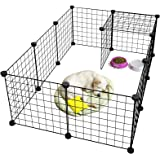LANGRIA 24 pcs Metal Wire Storage Cubes Organizer, DIY Small Animal Cage for Rabbit, Guinea Pigs, Puppy | Pet Products Portable Metal Wire Yard Fence (Black)