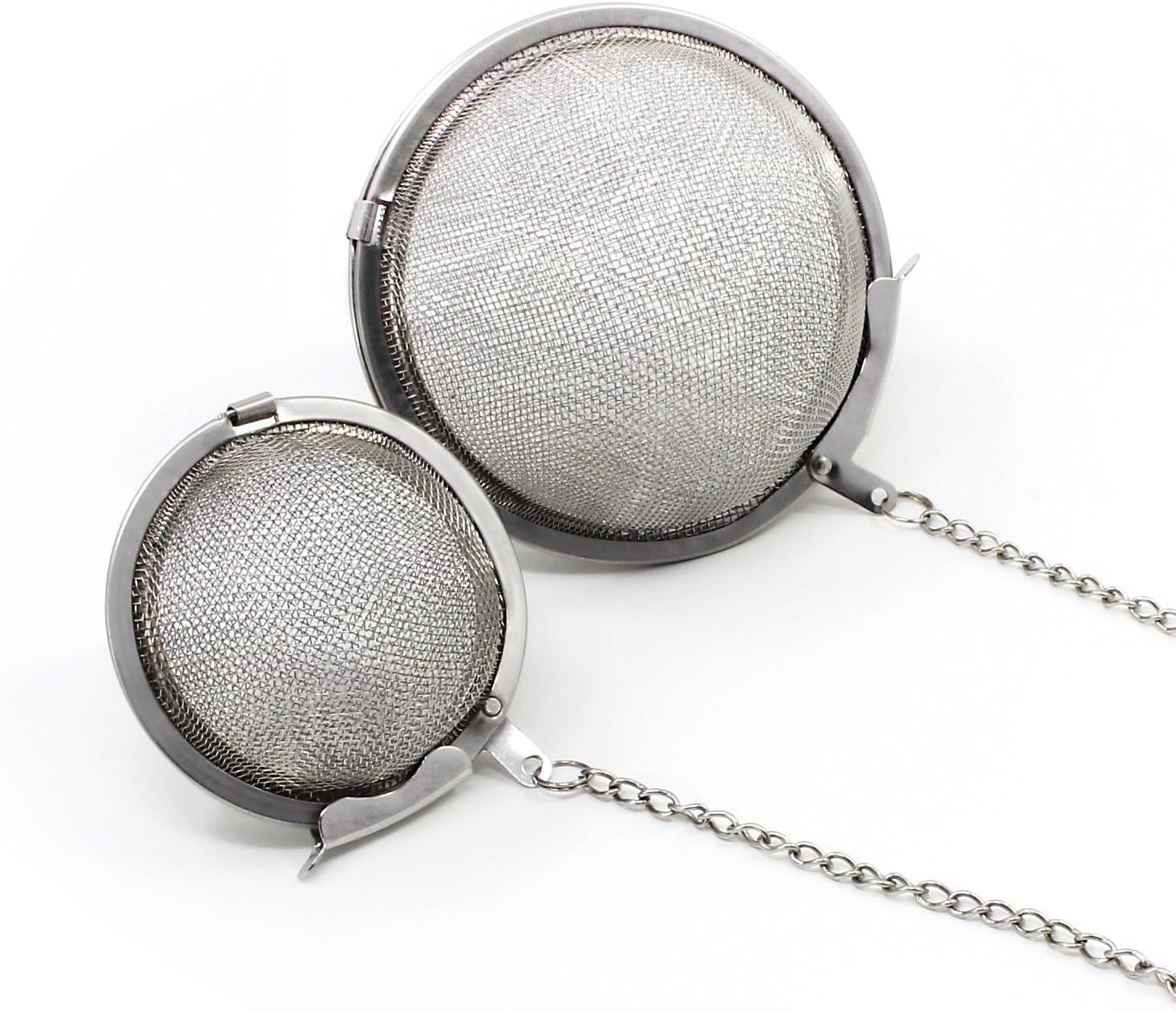 Keesin en acier inoxydable Passoire /à th/é Mesh Boule /à th/é r/éutilisables Feuilles de th/é Infuseur filtre Lot de 2 5cm-7cm