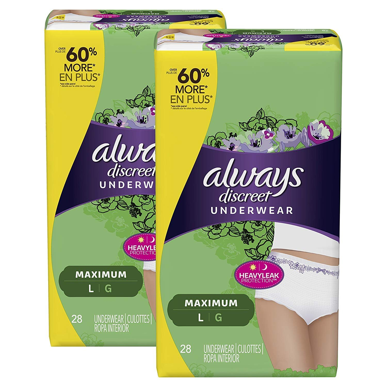 Amazon.com: Always Discreet Incontinence Underwear for Women Maximum Protection, Large, 56 Count: Health & Personal Care