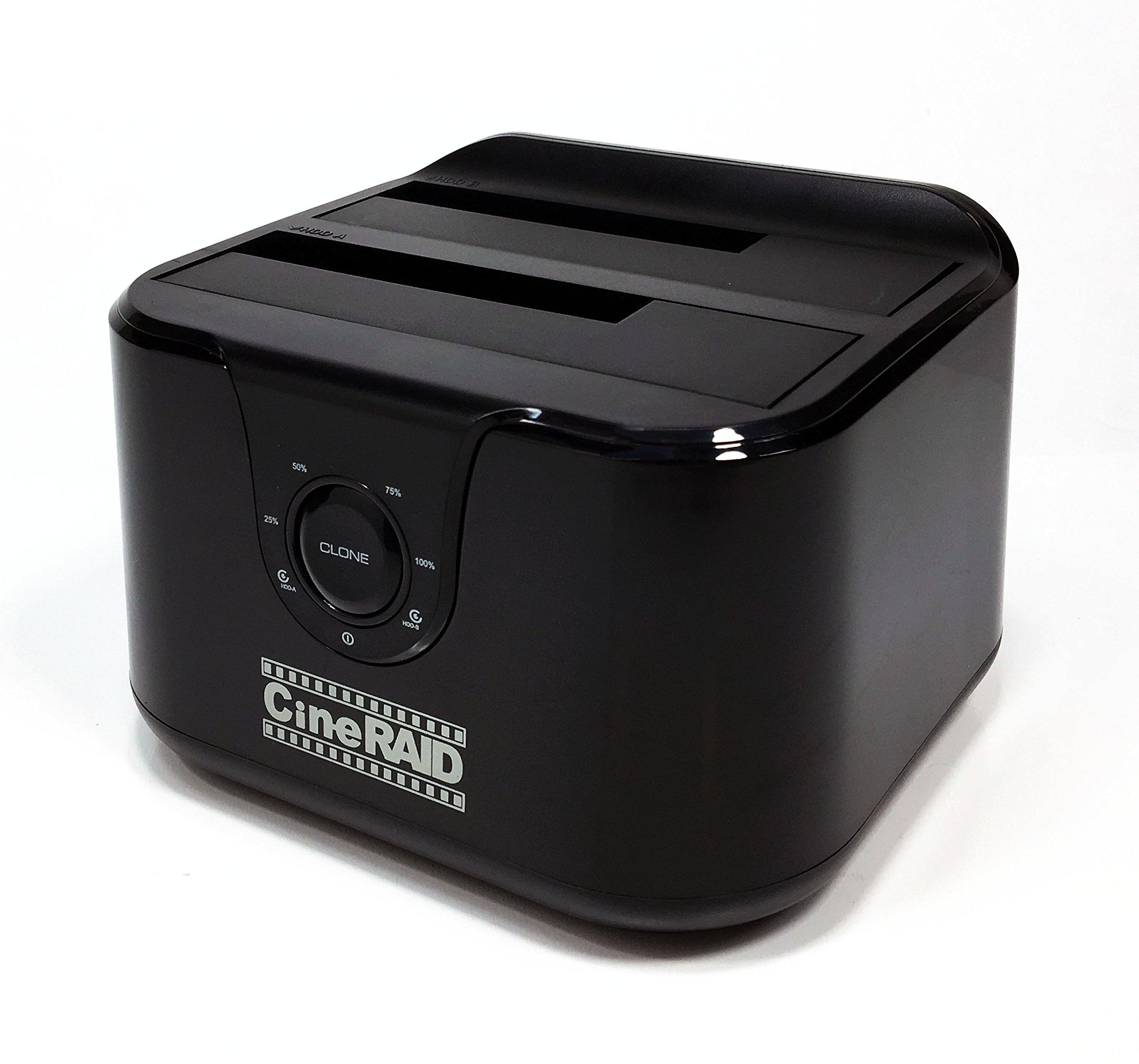 CineRAID CR-H238 (USB 3.1 Gen 2 Type C Dual Bay Hard Drive Enclosure/Duplicator Dock/RAID Compatible) by CineRAID