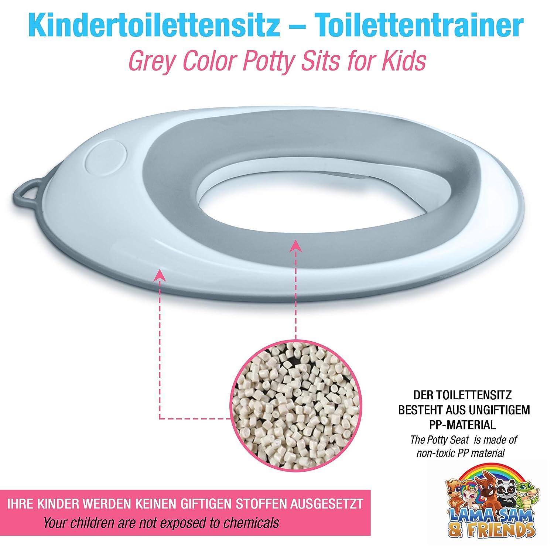Toilettentraining-Sitz f/ür Kinder Lama Sam /& Friends Grau Klobrille f/ür Jungen und M/ädchen Grau sichere rutschfeste Oberfl/äche in Farbe