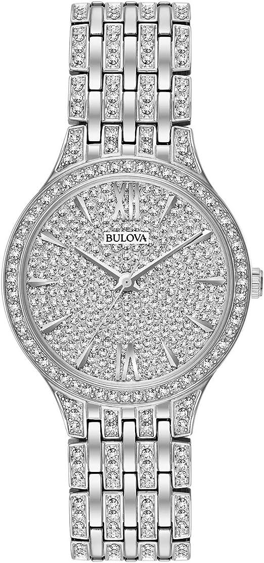 Amazon.com: Bulova Crystal Quartz Ladies Watch, Stainless Steel ...