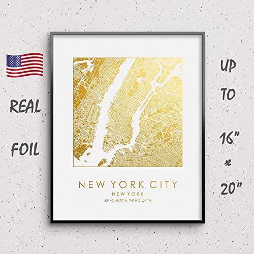 Amazon Com New York City Map Print Gold Silver Foil Print Nyc
