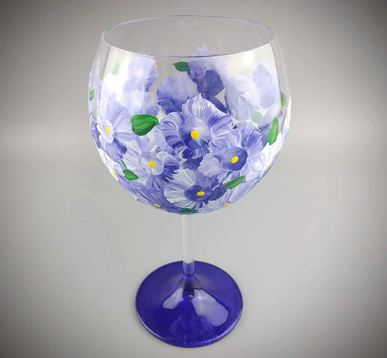 Purple Flower Hand Painted Red Wine Glass sparkly purple base 14 oz. purple and white flowers