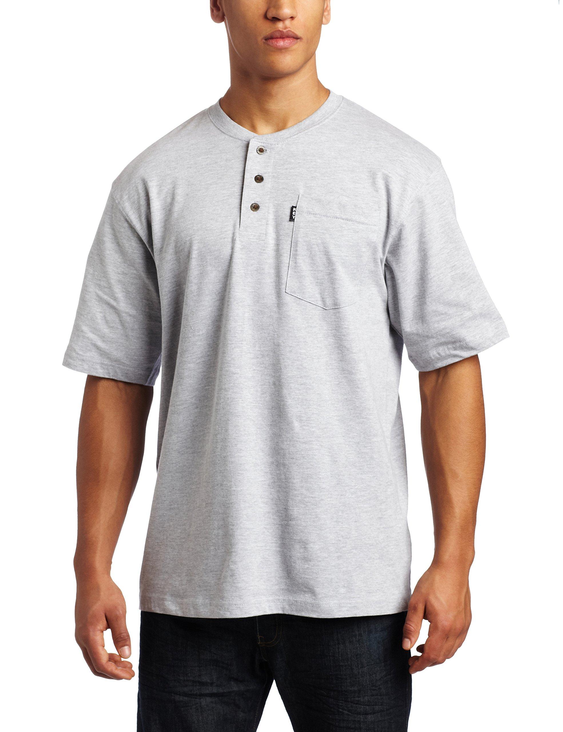 Key Apparel Men's Short Sleeve Heavyweight 3-Button Pocket Henley, Heather Grey, XX-Large-Regular