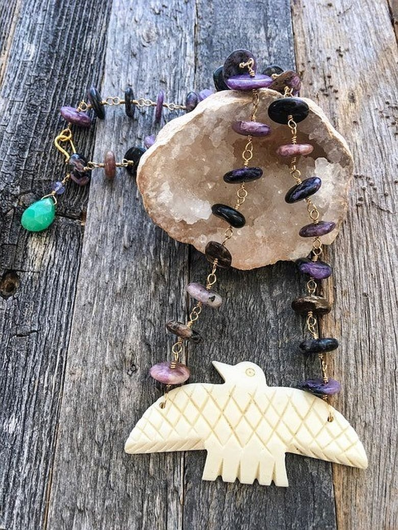 Amazon Com Russian Purple Charoite Necklace With Carved Bone Eagle Pendant Chrysoprase Chalcedony And 24k Gold Vermeil Handmade
