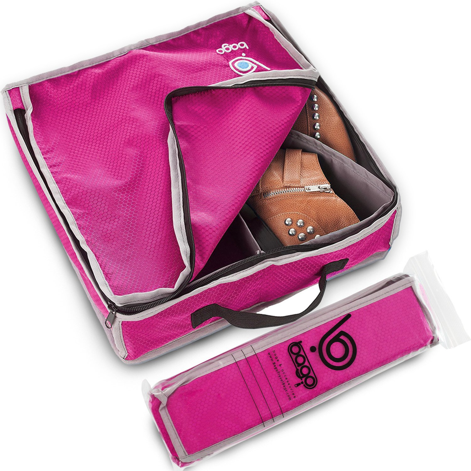 Bago Shoes Bag for Travel - Hanging Packing Cubes for Women Man Kids Storage. Modular Pouch for 1 or 2 sets of Shoes (Pink)