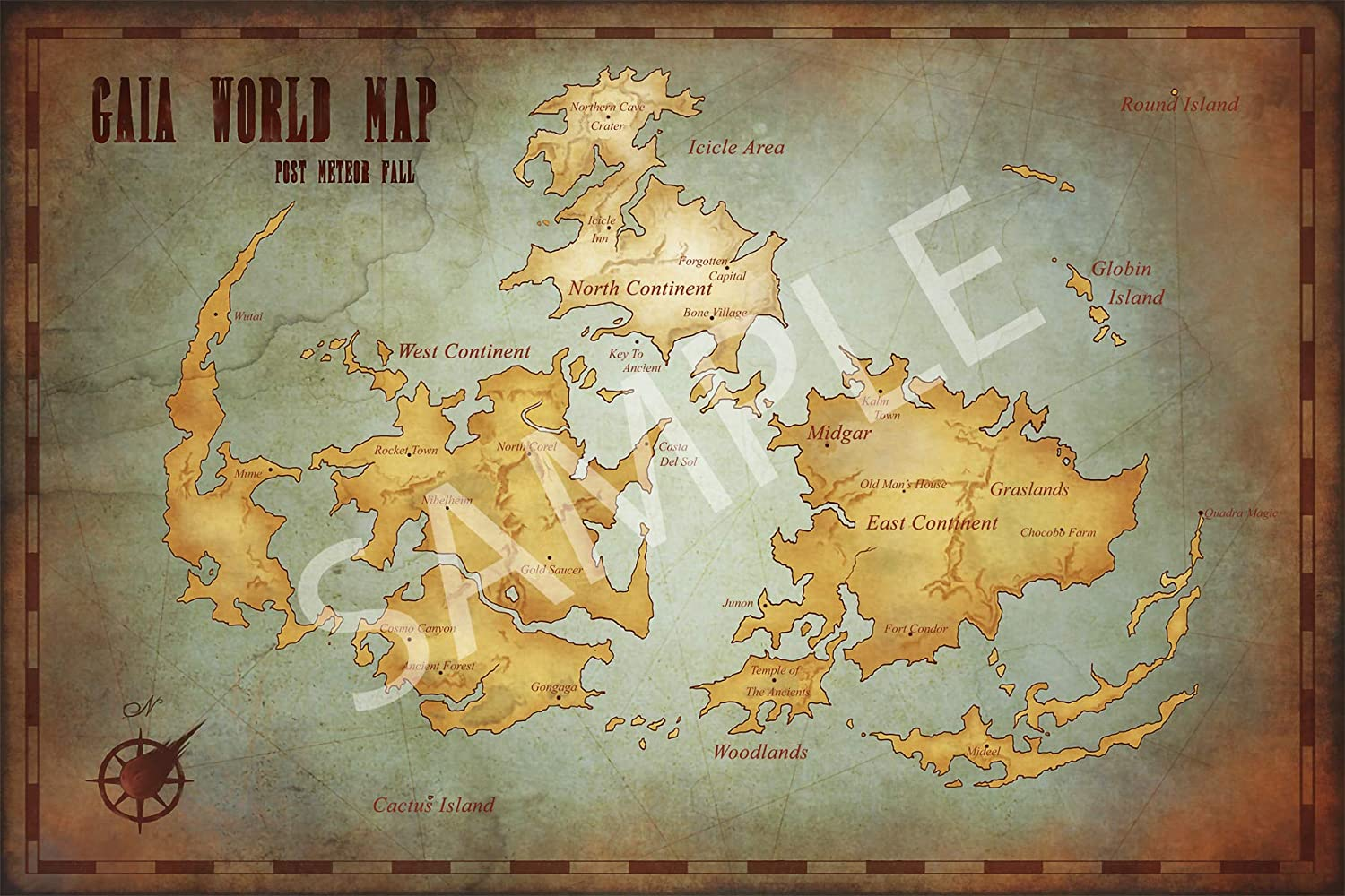 Best Print Store - Final Fantasy 7 Gaia World Map Poster (16x24 inches)