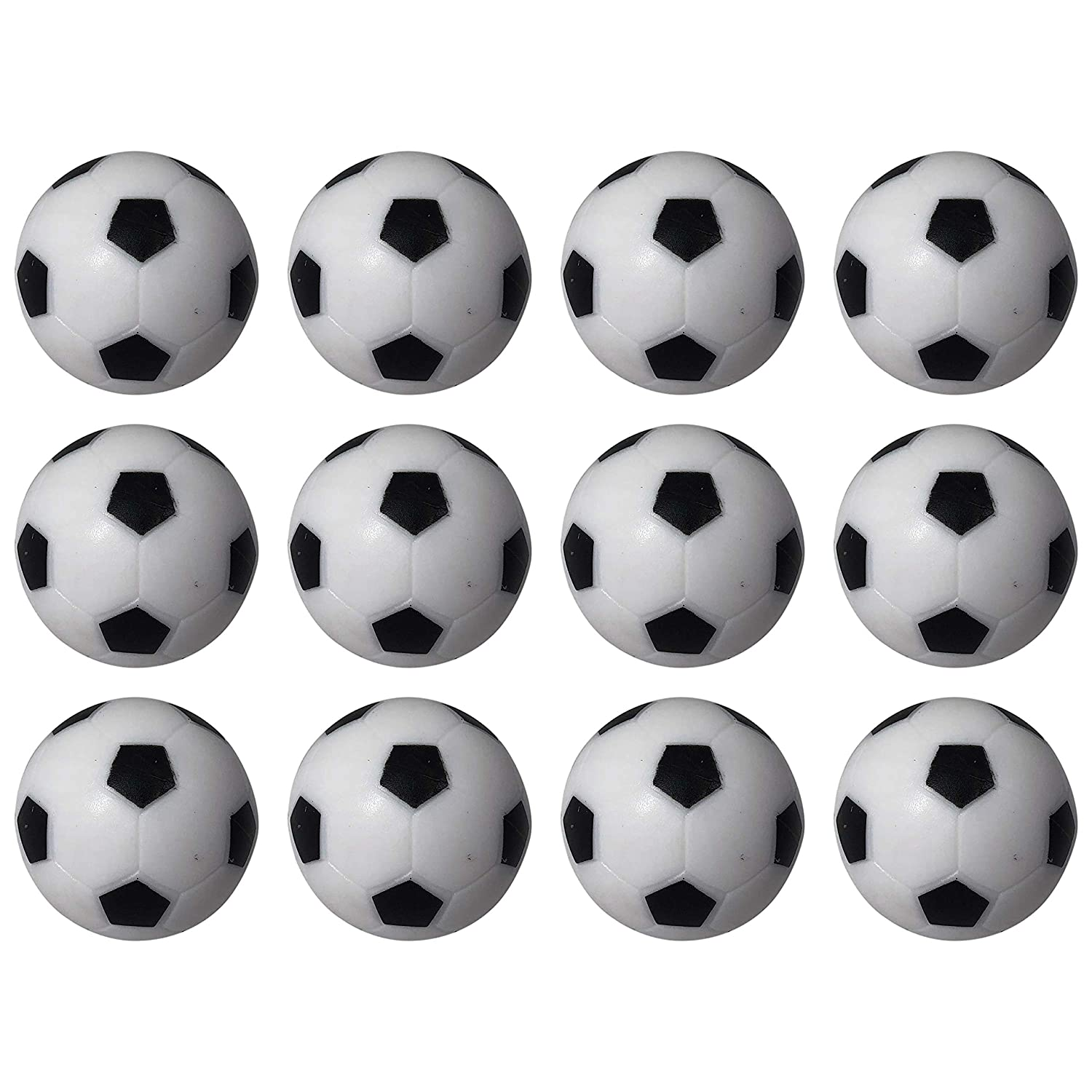 Msquared Table Soccer Foosballs Replacements Mini Black White Soccer Balls - Set of 12 jinX Commerce