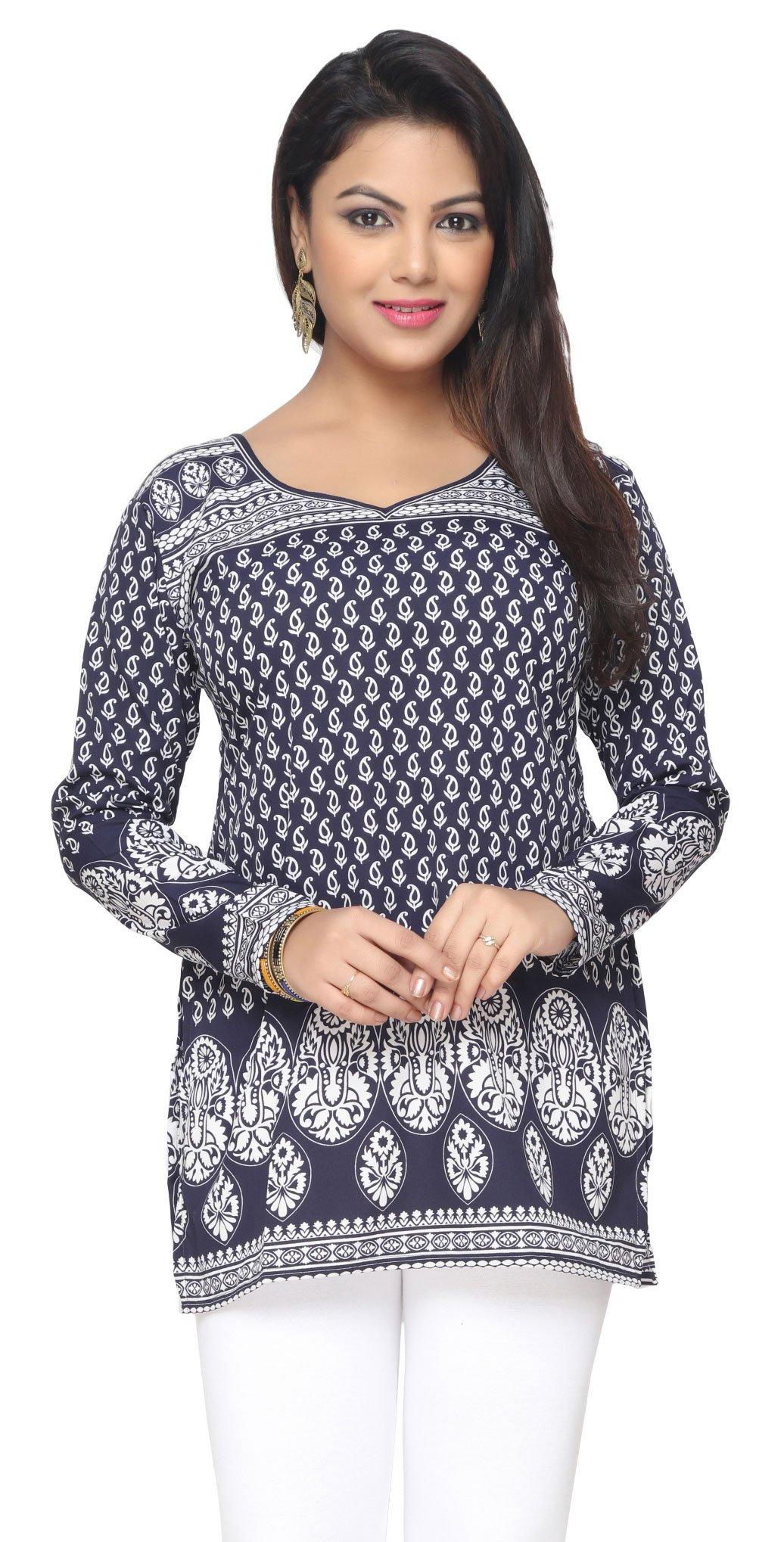 India Long Tunic Top Kurti Womens Printed Indian Apparel (Blue, S)