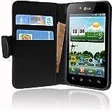 Cadorabo ®! LG Optimus negro P970 Funda De Piel con un práctico cierre magnético diseño: Book Style in negra