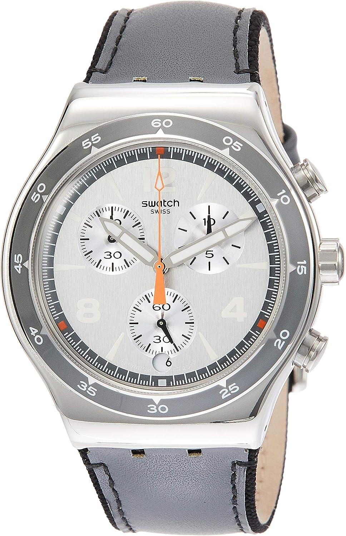 Swatch Irony Last Round Grey Dial Leather Strap Men s Watch YVS446