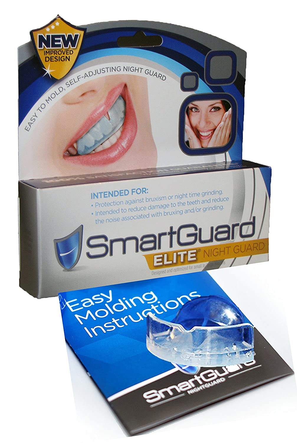 SmartGuard Elite - NEW IMPROVED Night Guard For Teeth Grinding and Bruxism - Mouthguard for Teeth Dental Bite Splint Appliance. TMJ Dentist Designed For Relief of Symptoms of Night Time Clenching and Grinding, May Include Jaw Pain. 100% Guarantee! SmartGua