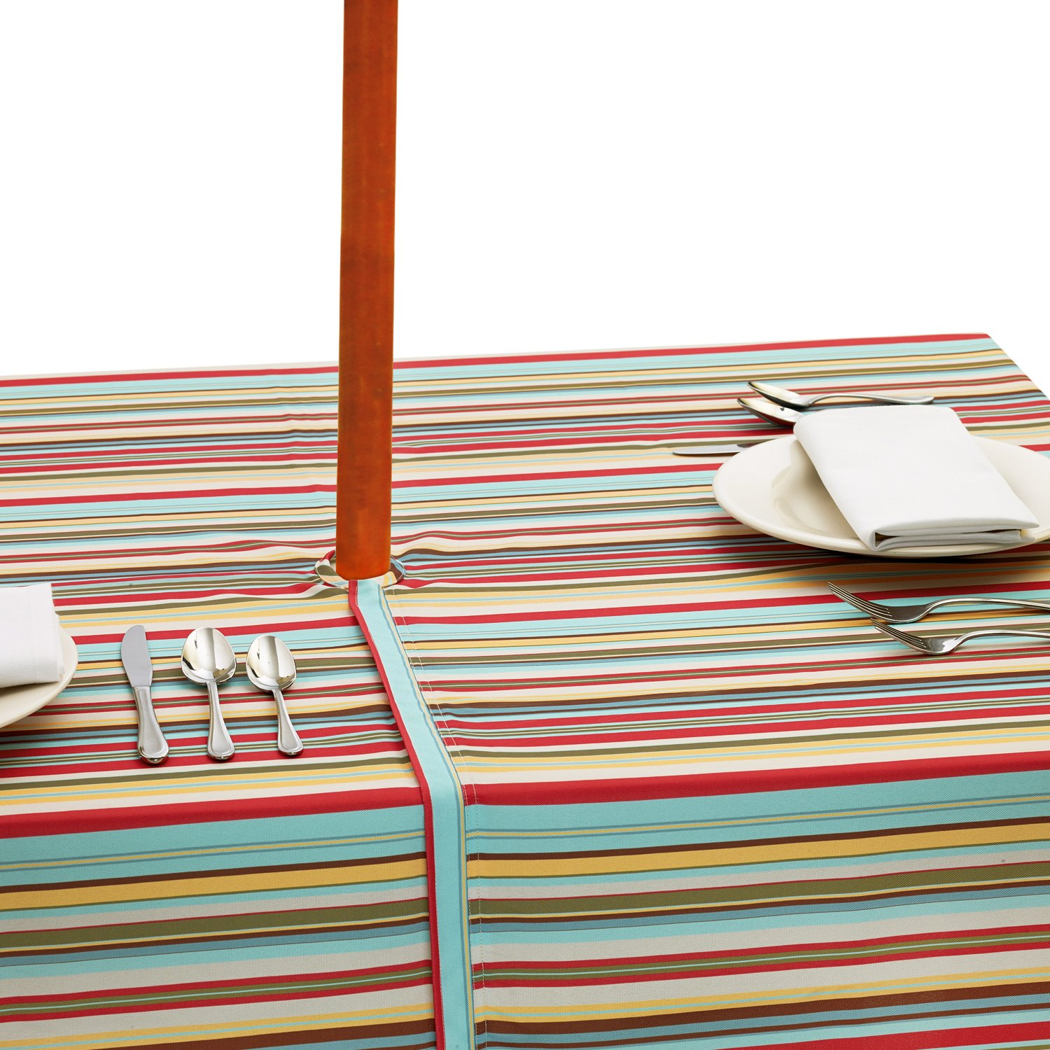DII Spring & Summer Outdoor Tablecloth, Spill Proof and Waterproof with Zipper and Umbrella Hole, Host Backyard Parties, BBQs, & Family Gatherings - (60x84'' - Seats 6 to 8) Warm Summer Stripe by DII (Image #7)